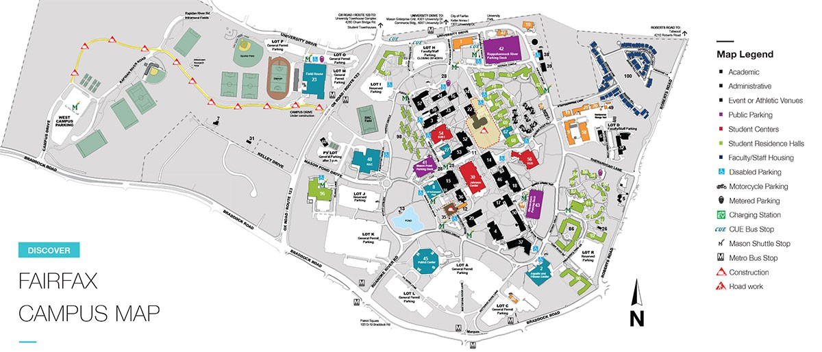 Fairfax Campus Map George Mason University Visitors Guide